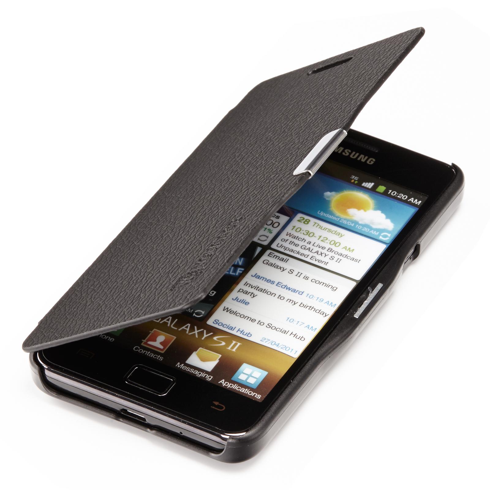 Samsung-Galaxy-S2-i9100-Slim-Flip-Case-Leder-Tasche-Schutz-Huelle-Etui-Schwarz