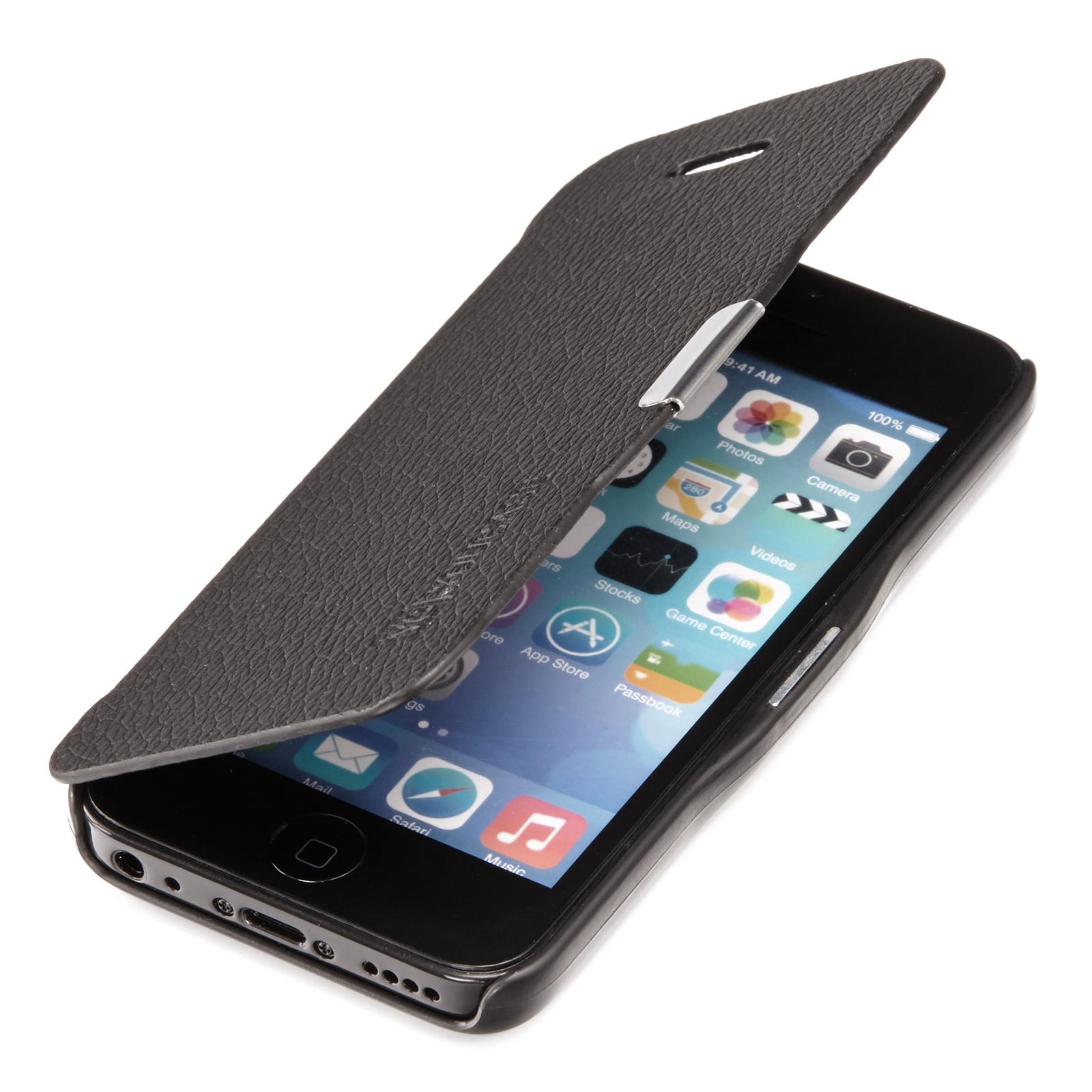 Apple-iPhone-5C-Slim-Flip-Case-Leder-Tasche-Schutz-Huelle-Etui-Cover-Schwarz